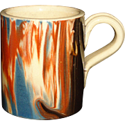Rare Miniature Marbled Yellowware Mocha Childs Mug Mochaware c1850 Yelloware