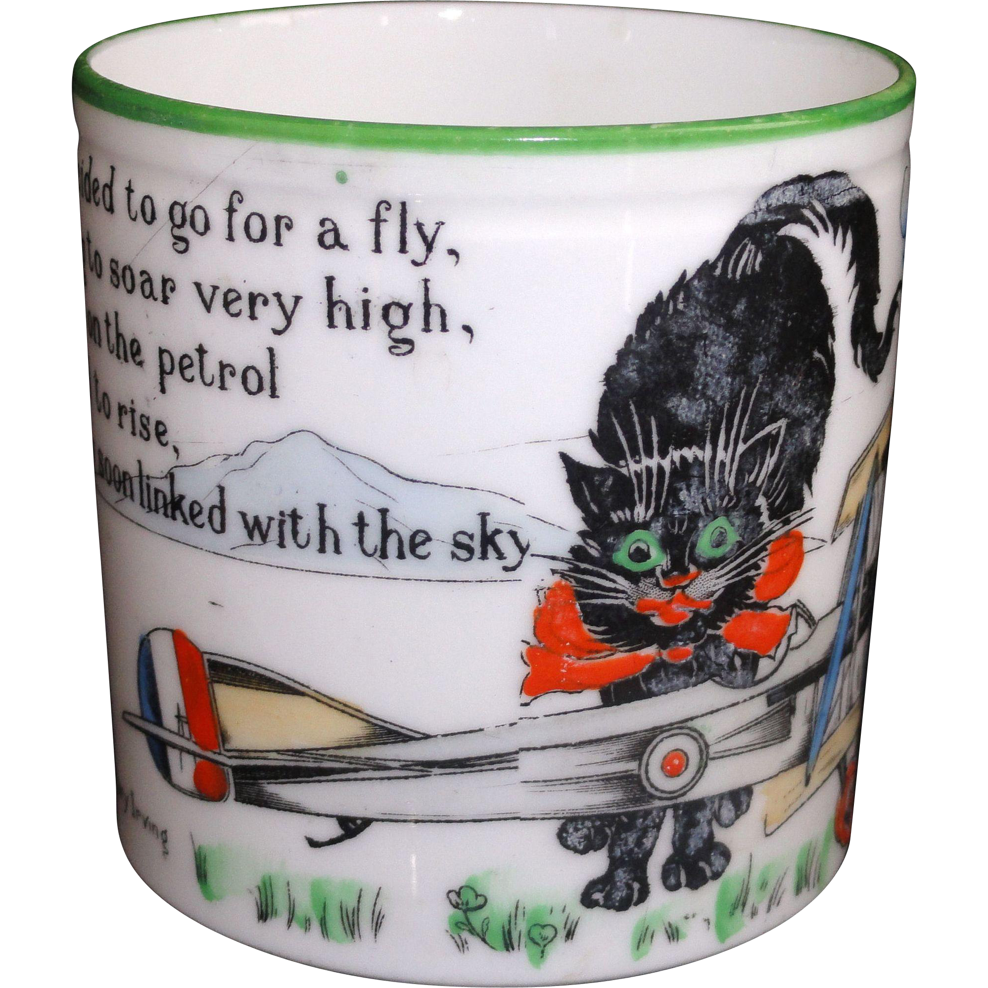 Scarce Childs Mug Cat Pilot Flying Stunt WW1 Biplane Paragon China c1920