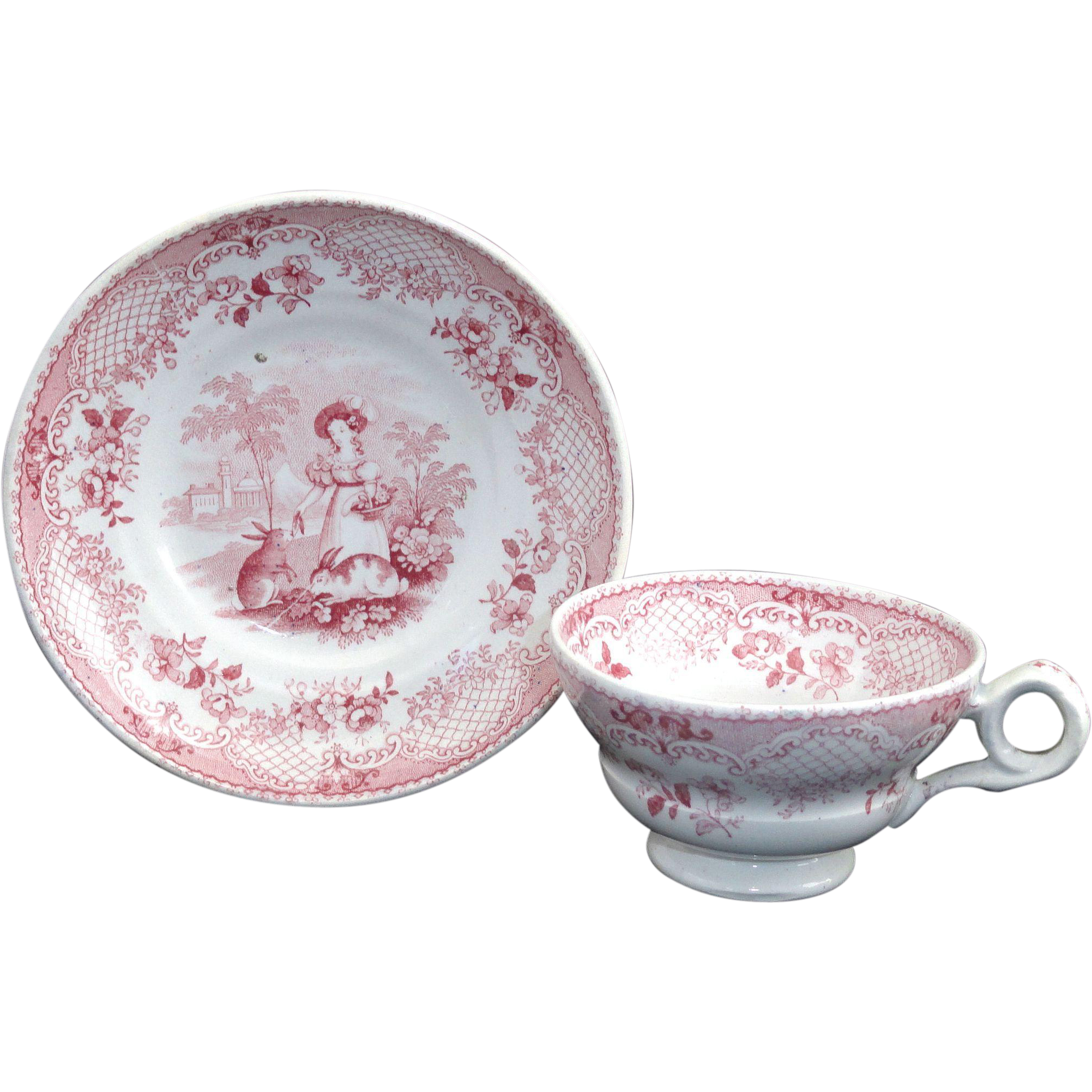 Miniature Pearlware Transferware  Childs Cup & Saucer Set  JUVENILE ~ RABBITS  Wood & Brownfield  Staffordshire c1840