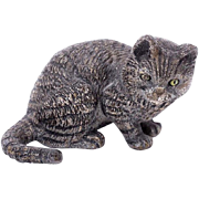 Antique Cold Painted Vienna Bronze Curious Cat Ready for Play c1900