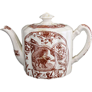 19th cTransferware Childs Teapot ~ Girl with Newfoundland Dog ~ Allerton