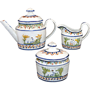 Extremely Rare Miniature Pratt Relief Decorated Pearlware Tea Set c1800