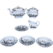 Godwin Childs Tea Set Blue Slip Black Berry BIRD Staffordshire 1840 Transferware