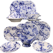 Childs 12pc Dinner Set FLOW BLUE MARBLE SEAWEED Minton Staffordshire 1840