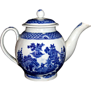 Rare Childs Teapot Pearlware Chinoiserie BOY ON BUFFALO Staffordshire c1800