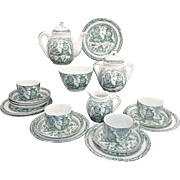 Punch & Judy Childs Tea Set Allerton 1880 Green Staffordshire Transferware