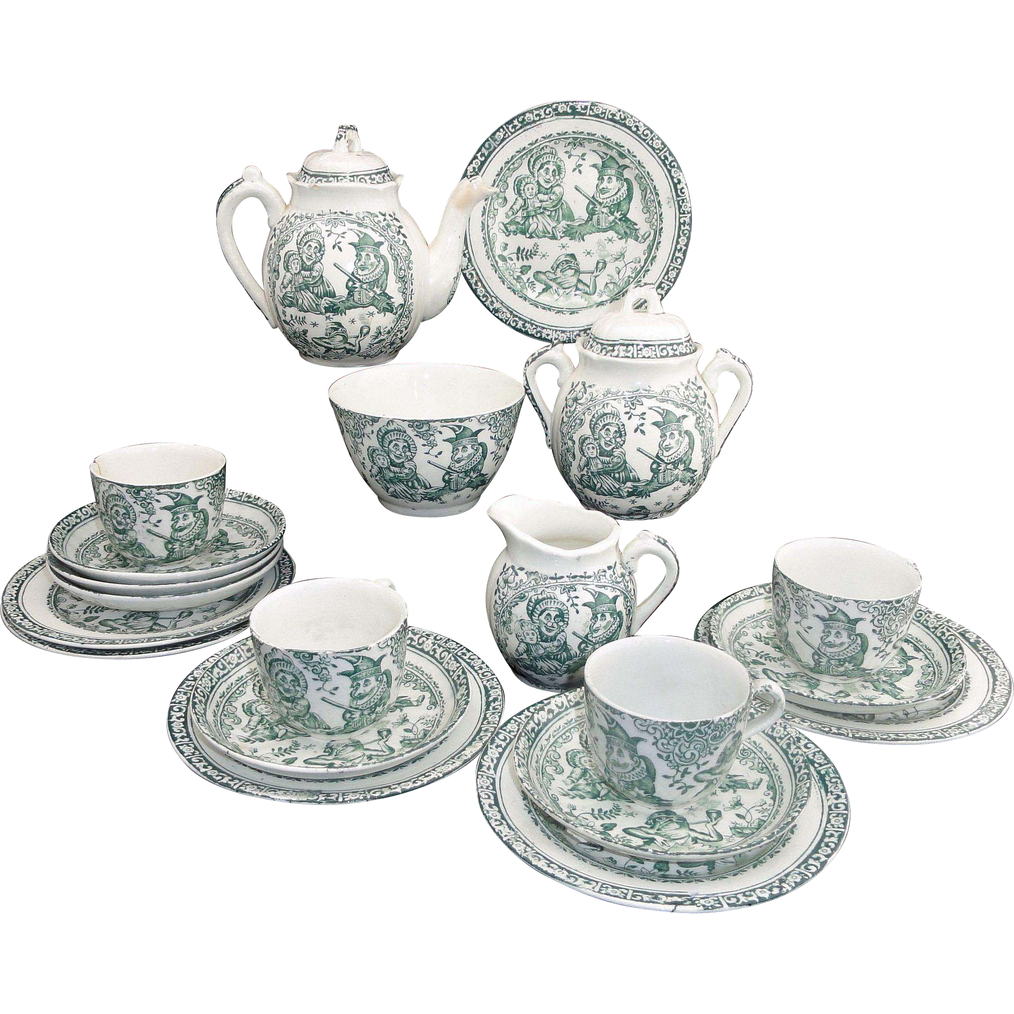 Punch & Judy Childs Tea Set Allerton 1880 Green Staffordshire Transferware