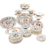 Rare Childs Miniature 45pc Dinner Set c1840 POONAH Minton Staffordshire Pearlware