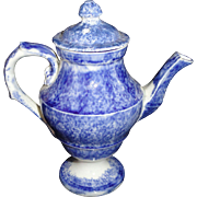 Pearlware Blue Spatterware Spongeware Miniature Coffeepot 1830