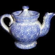 Pearlware Blue Spatterware Spongeware Miniature Teapot 1830