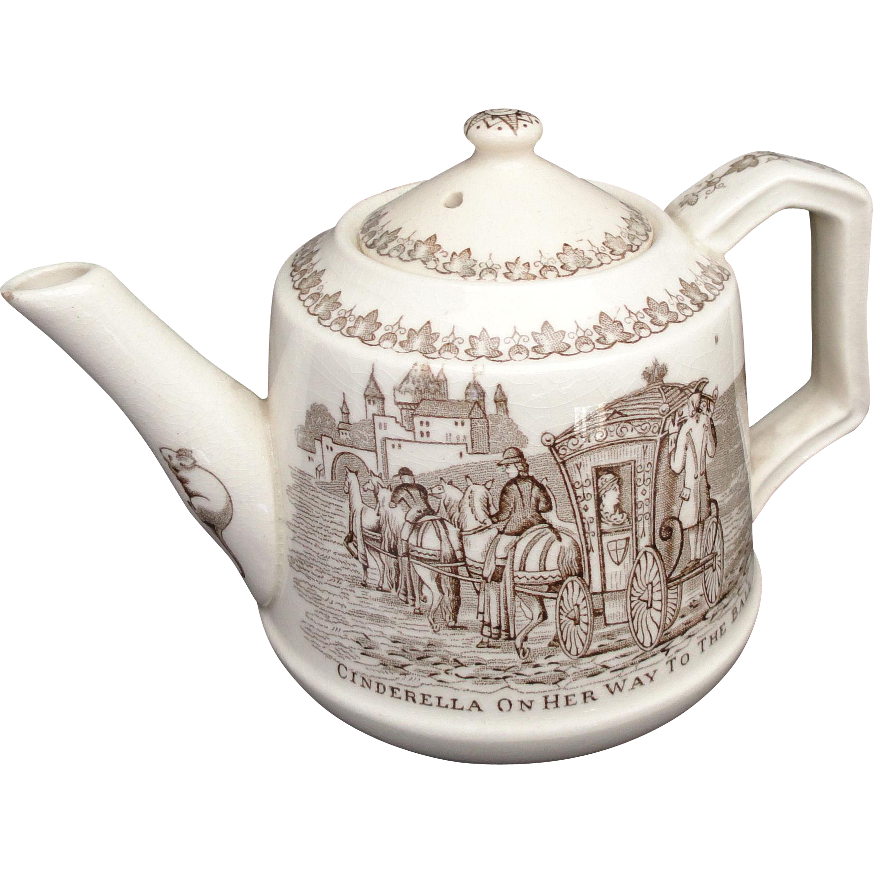 Rare Childs Transferware Teapot ~ Cinderella to the Ball Glass Slipper c1890