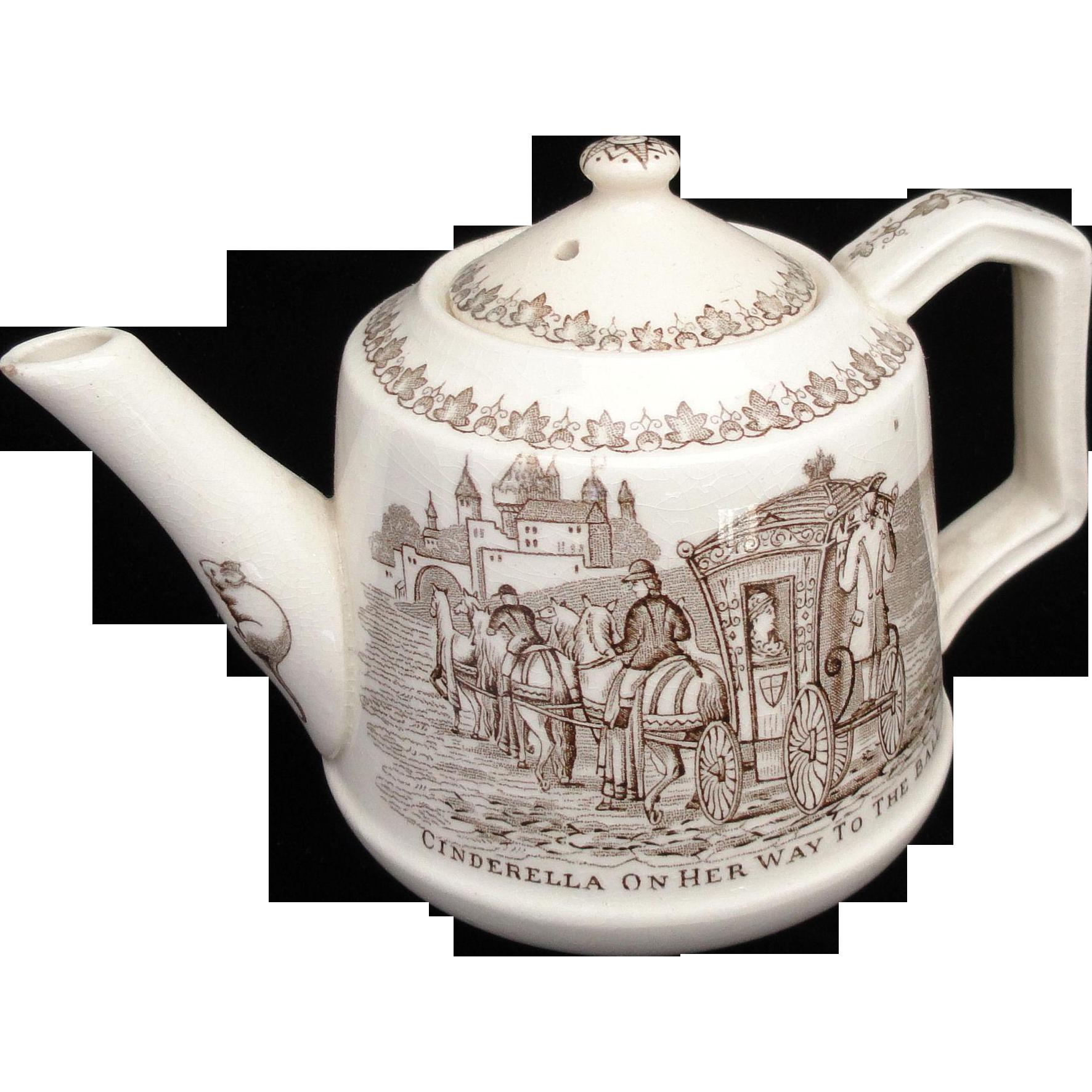 Rare Childs Transferware Teapot ~ Cinderella to the Ball Glass Slipper c1890