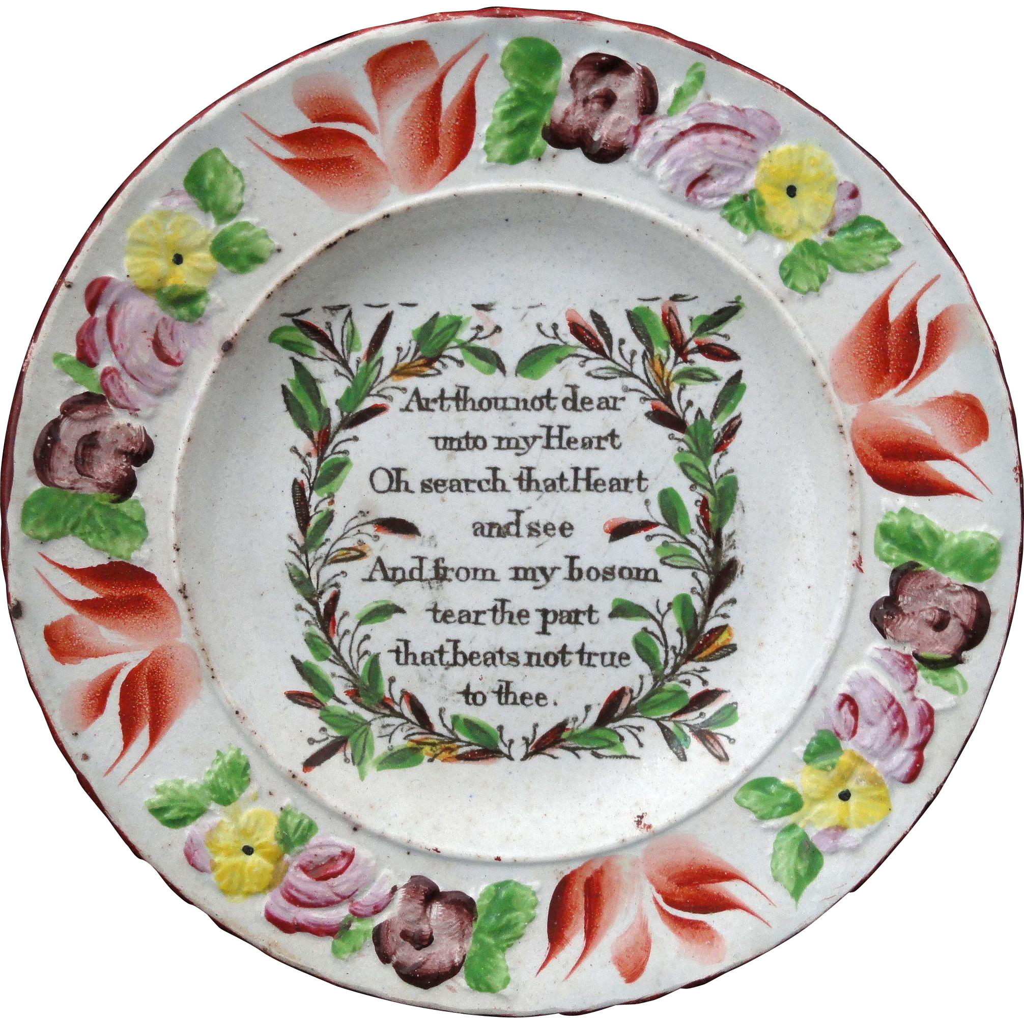 Early Painted Creamware Childs Plate ~ LOVE SONNET POEM 1810 Staffordshire