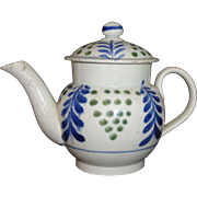 English Pearlware Brushstroke Mochaware Miniature Teapot Wisteria & Grapes Staffordshire c 1810