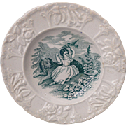 Staffordshire Childs Plate PRETTY GIRL with DOG & BIRD HOLLYHOCKS 1830 Pearlware