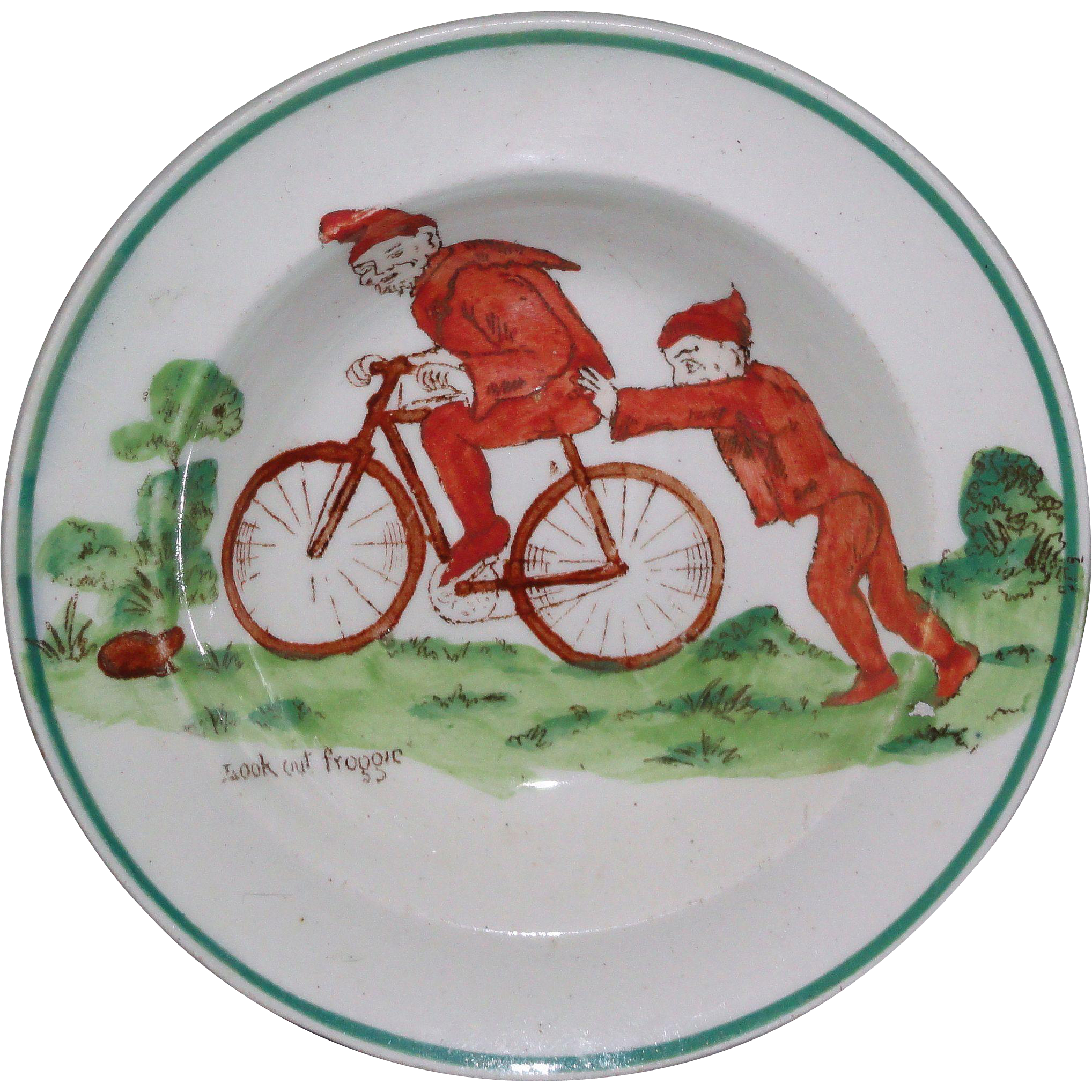 Rare Wedgwood Daisy Makeig-Jones Miniature Toy Cup Plate BROWNIES c1913 Bicycle Frog