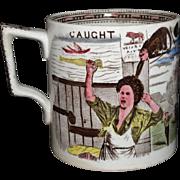 Brown Staffordshire Cider Mug Tankard MONKEY MISCHIEF CAUGHT Scotland 1890