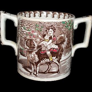 Giant Staffordshire Loving Cup Tankard Jockey Girl Newfy Dog Ride Scotland 1890