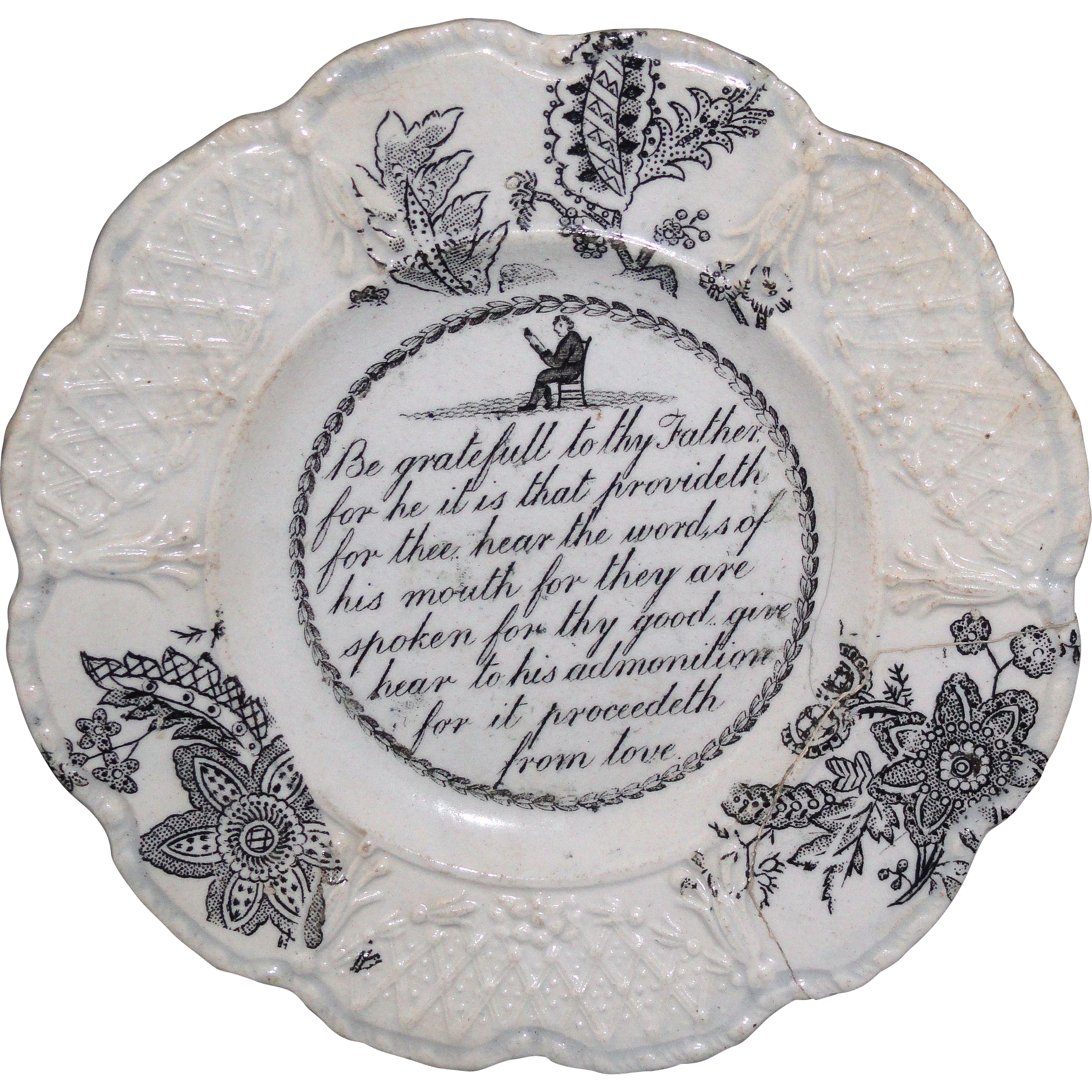 Staffordshire Childs Pearlware Verse Plate ~ Be Grateful to Thy Father c1830