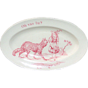 Little Red Riding Hood French Transferware Toy Platter Meeting the Wolf 1900