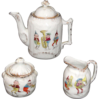 Palmer Cox BROWNIES RS Prussia Toy Porcelain Tea Set Music Makers c1900