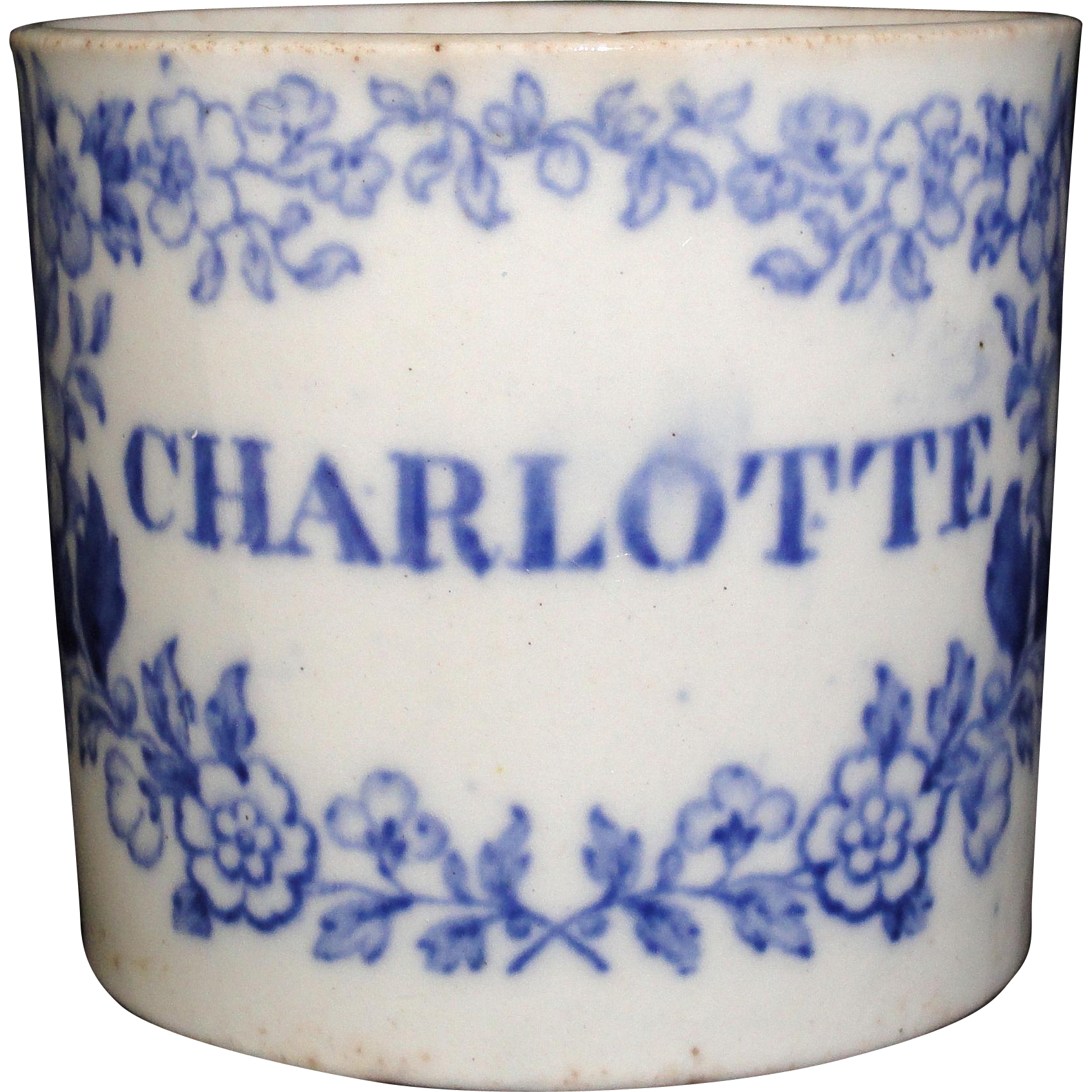 Early Staffordshire Childs Pearlware Christening Cup Mug CHARLOTTE c1840