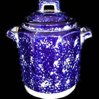 Flow Blue Spongeware Childs Biscuit Jar Sugar c1890 Staffordshire Spatter Sponge
