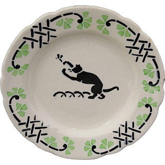 French Childs Spatter Stencil Miniature Plate CAT & INSECT Choisy le Roi c1905