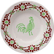French Childs Miniature Toy Plate ROOSTER Coq Animals CREIL c1910