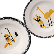 2 French Childs Plates EXPLORER & OSTRICH c1900 BACKPACKING Faience Spatter Stencil ware