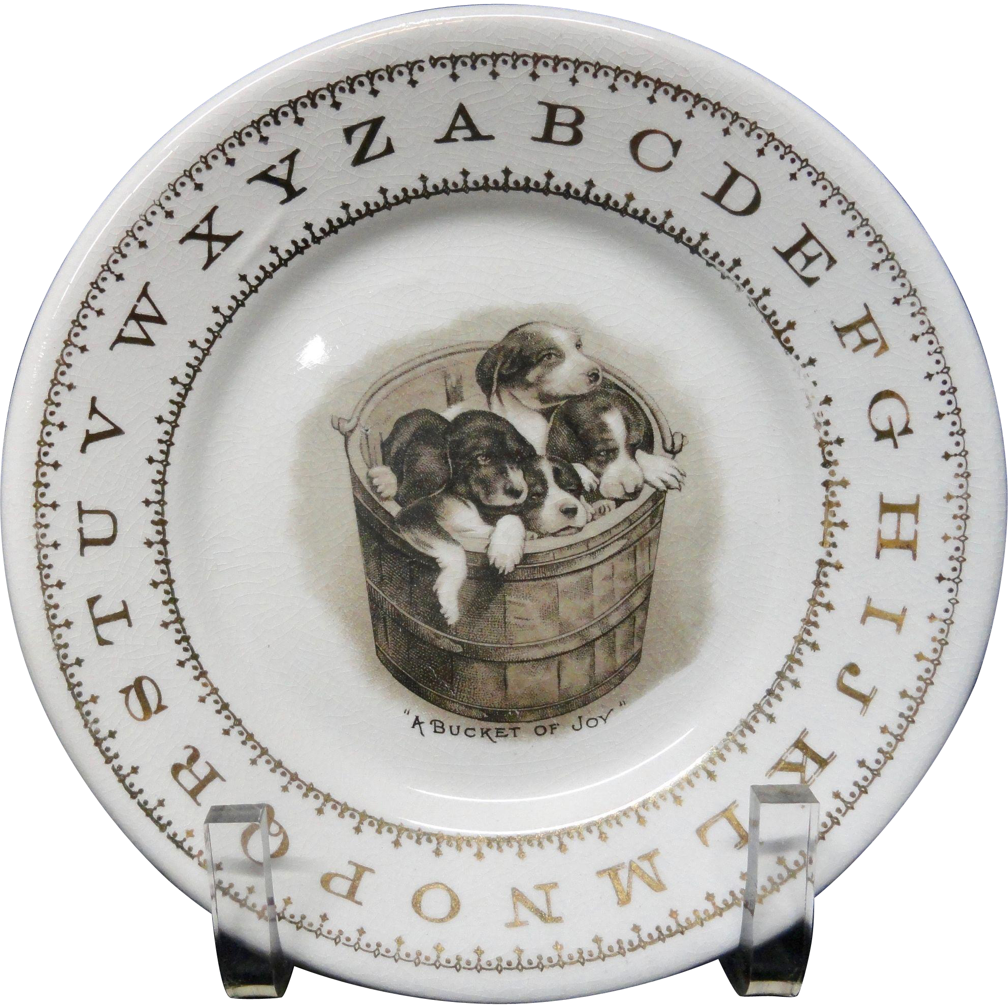 Hotel Plate ABC Puppies ~ Alphabet Plate Harker USA