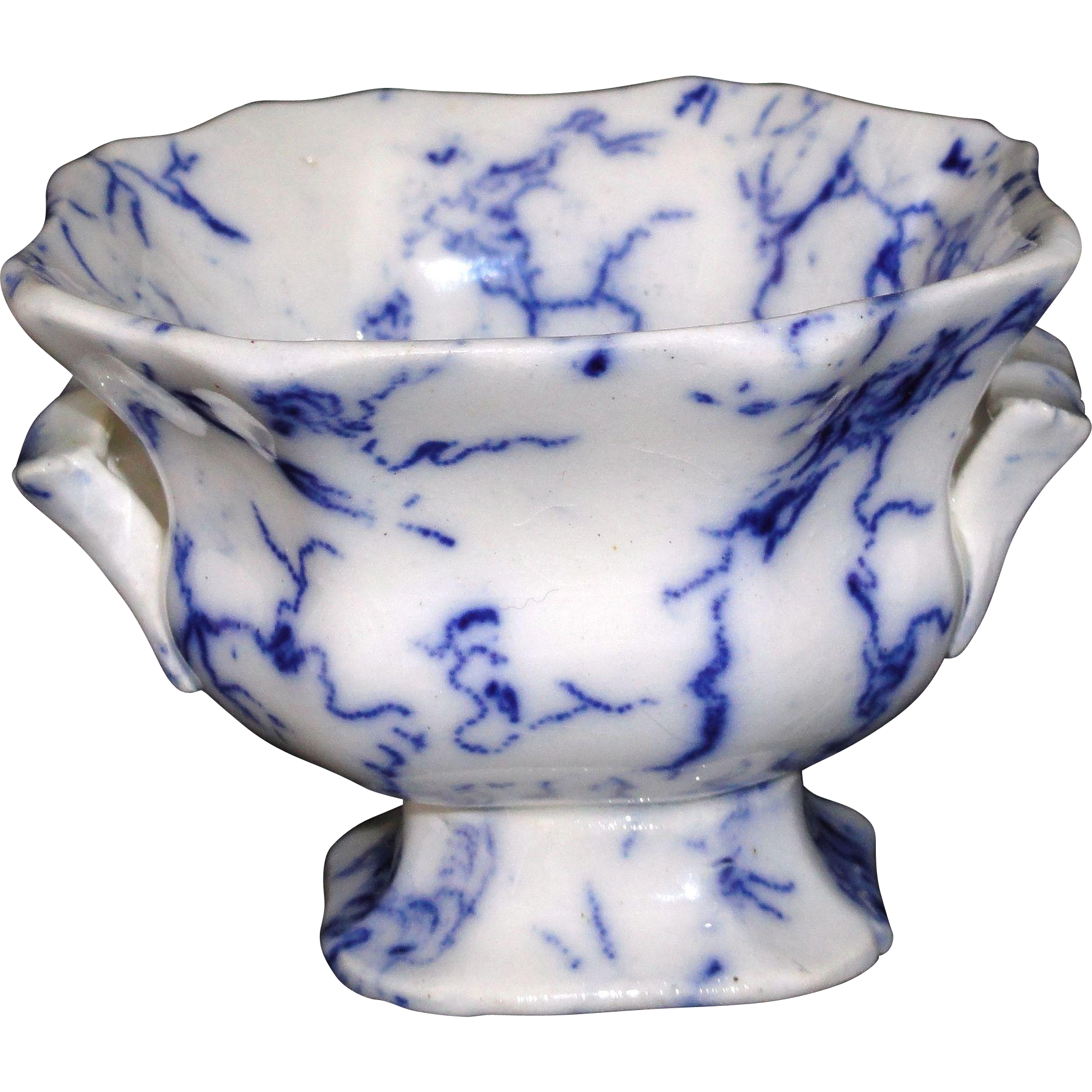 Staffordshire Childs Flow Blue Wine Cooler SEAWEED or MARBLE Minton 1840 Fruit Bowl