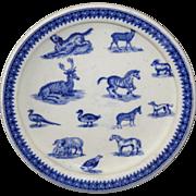 1890 Copeland Childs ANIMALS Feeding Dish Zebra Sheep Dog Critters Staffordshire