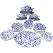Staffordshire Childs Doll Dinner Set COBALT BLUE PAISLEY CHINTZ Ridgway 1890