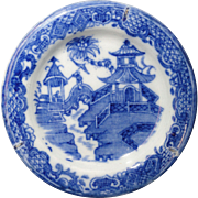 CURLING PALM Miniature Plate Chinoiserie Blue Printed Pearlware Toy Staffordshire c1800 Rare