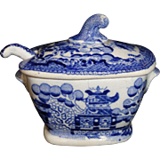 Pearlware BLUE WILLOW Toy 2pc Tureen with Ladle c1820 Chinoiserie Staffordshire