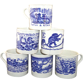 Set of 6 FLOW BLUE ABC CHILDS MUGS Nursery School Stories Rhymes Staffordshire