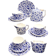 Staffordshire Childs Cobalt Blue Paisley Chintz Tea Set Ridgway 1885