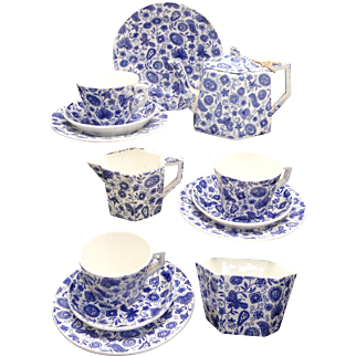 Staffordshire Childs Cobalt Blue Paisley Chintz Tea Set Ridgway 1885
