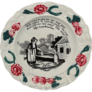 Pearlware Childs Plate ~ My Grandmother 1820 Podmore Walker Staffordshire