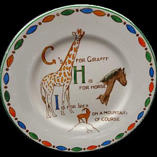 Childs ABC Plate G H I ~ ZOO Alphabet Giraffe Adderley Staffordshire 1940