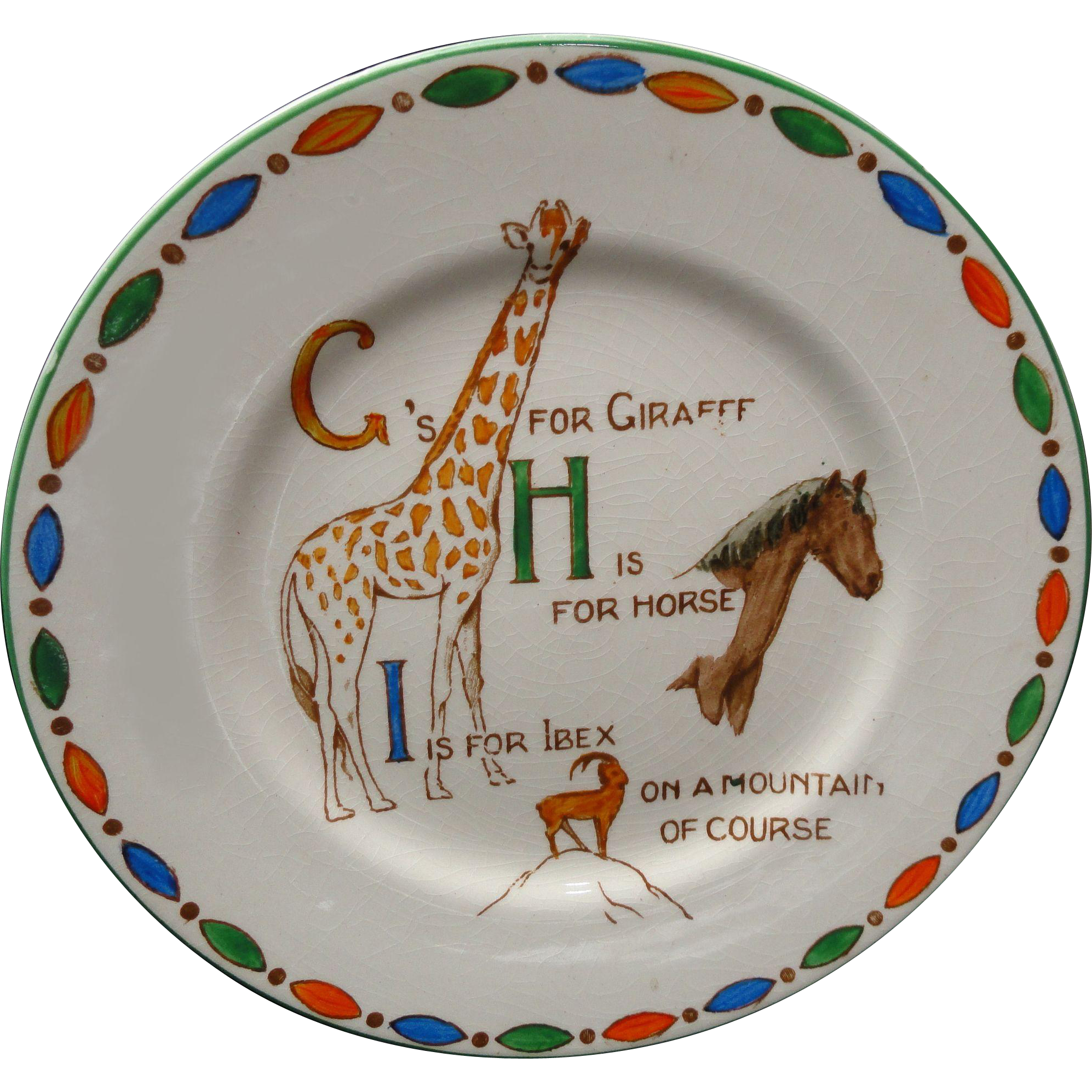 Childs ABC Plate G H I ~ ZOO Alphabet Giraffe Adderley Staffordshire 1940