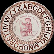 Staffordshire Childs ABC Nursery Rhyme Plate Little Jack Horner CHRISTMAS PIE  c1860