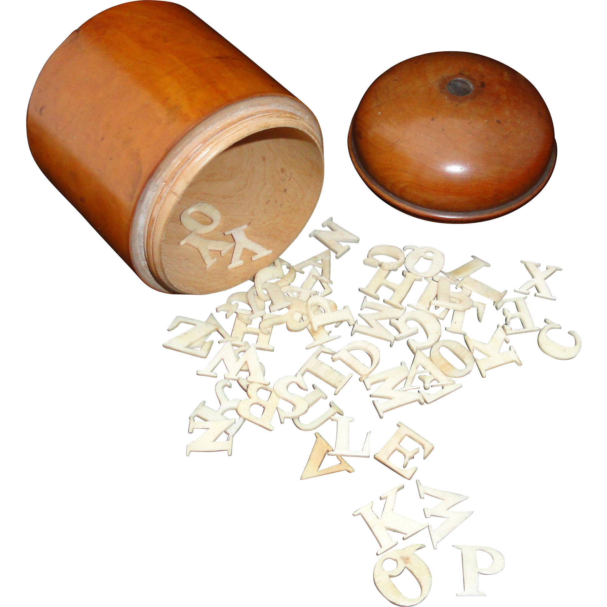 19th Century Carved Bone Alphabet Letters Within a Treen Threaded Lid Fruitwood Box ABC