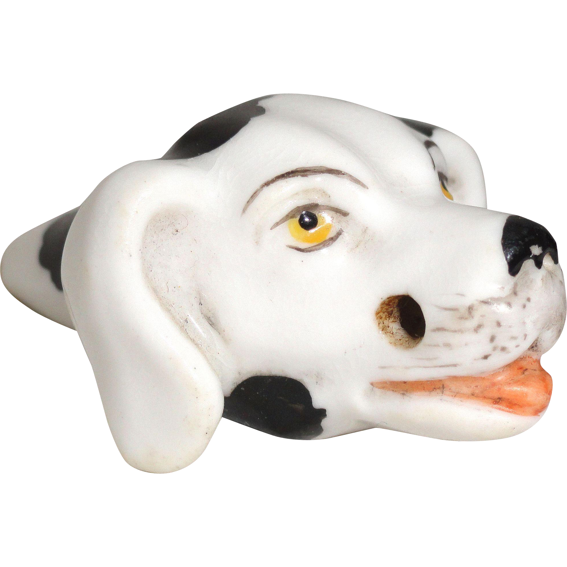 Rare Figural Dog Head Whistle Staffordshire Porcelain 1890 Happy Dog Fox Hunt