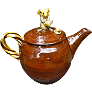 Treacle Glaze Toy Teapot with Mouse Finial David Cleverly Haytown Studio Pottery Devon UK