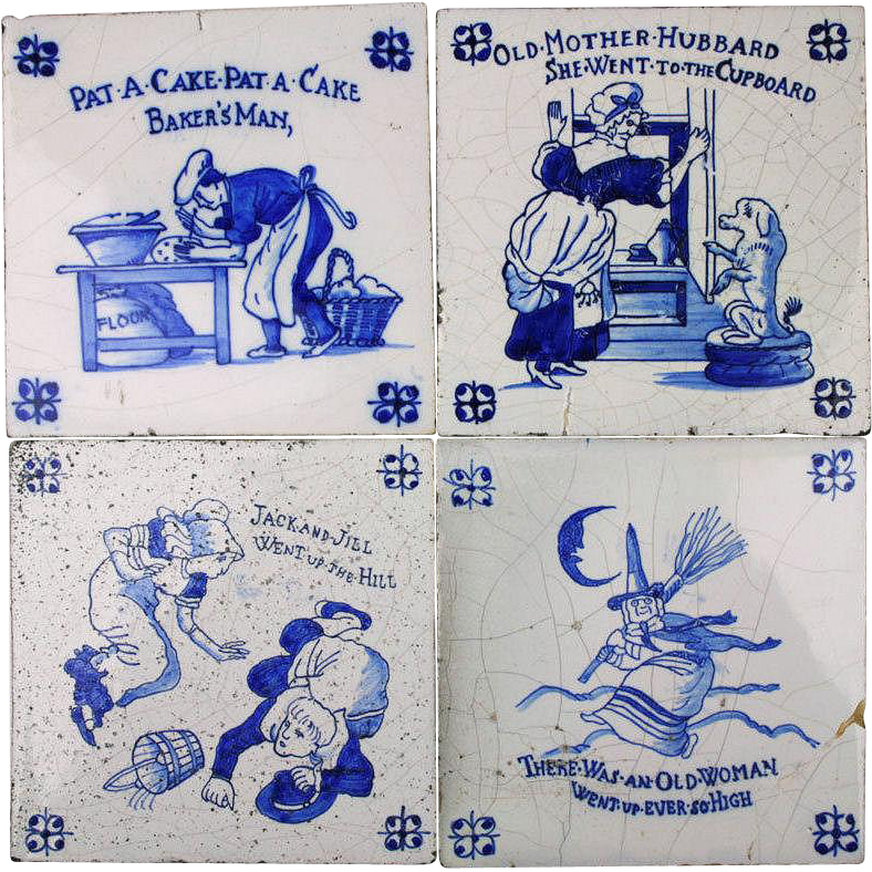 Set of 4 Dutch Delft Tiles Nursery Rhyme 1920 Cobalt Blue Hand Decorated Antique