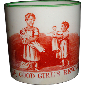 Rare Creamware Child's Doll Mug ~ Good Girl's Reward 1820