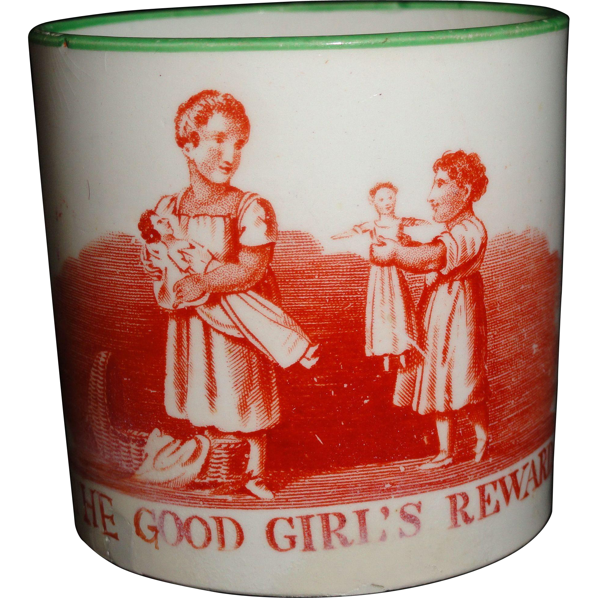 Rare Creamware Child's Doll Mug ~ Good Girl's Reward 1820