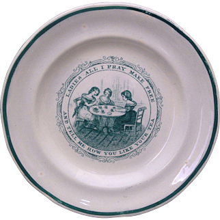 Rare Womens Suffrage Historical Staffordshire Political Childs Plate c 1870